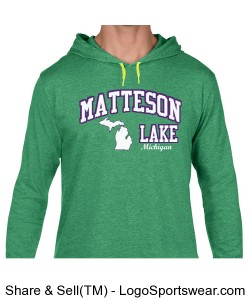 Matteson Lake Hoodie Green Design Zoom