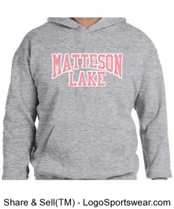 Matteson Lake KIDS Sweatshirt Bubble Gum and white Design Zoom