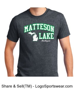 Dark Grey STATE MAP Matteson Lake Shirt Design Zoom