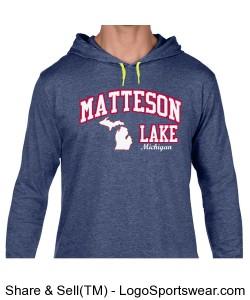Matteson Lake HOODIE State Map Blue Design Zoom