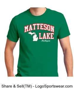 Green STATE MAP Matteson Lake Shirt Design Zoom